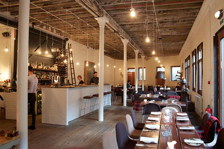 Fly to Edinburgh, dine at Timberyard.