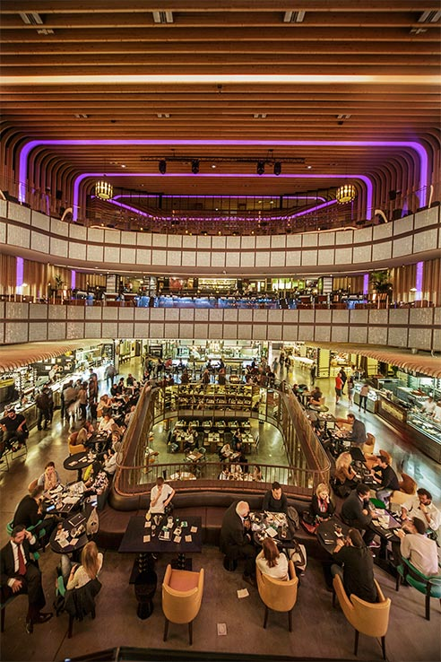 Flights to Madrid, dine at Platea.