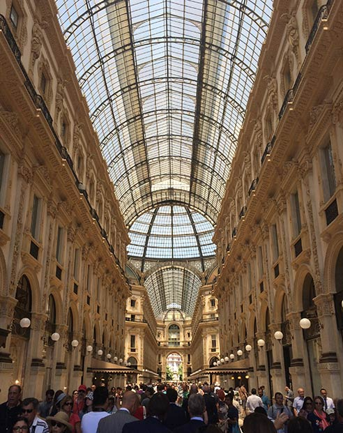 Fly to Milan, shop at Galleria Vittorio Emanuele II.