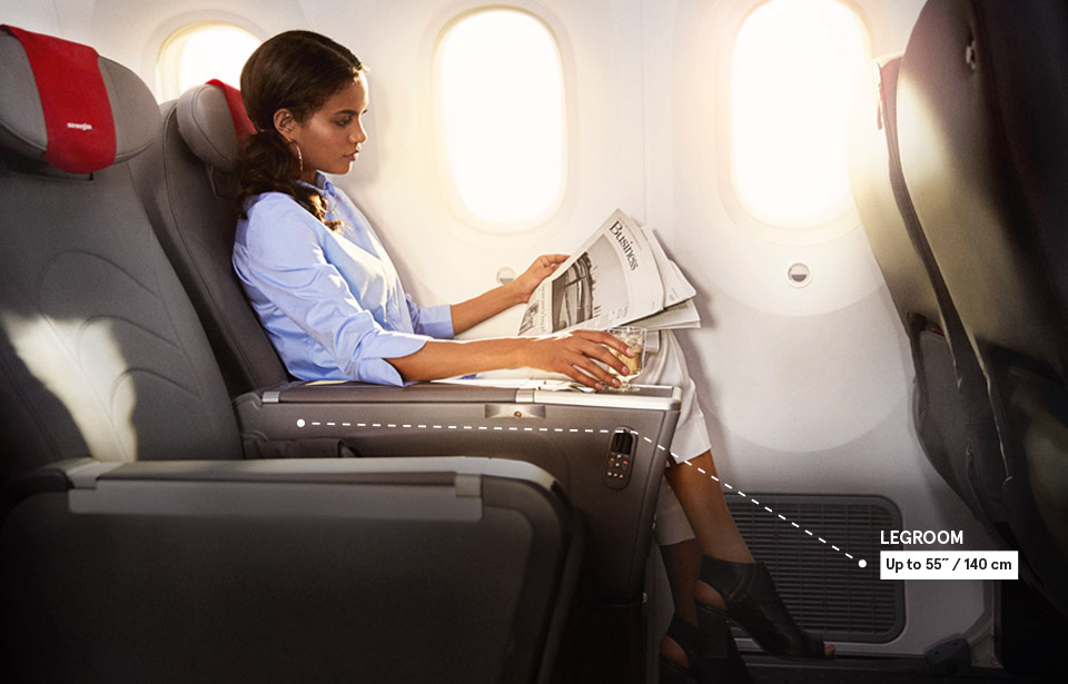 A Comfortable Premium Seat With 140 Centimetres Legroom.